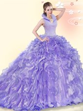 Colorful High-neck Sleeveless Organza Sweet 16 Dress Beading and Ruffles Brush Train Backless