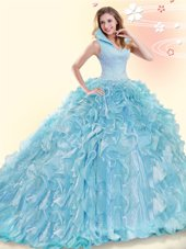 Inexpensive Aqua Blue Organza Backless Sweet 16 Quinceanera Dress Sleeveless Brush Train Beading and Ruffles