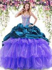 Delicate Pick Ups Ruffled With Train Teal and Lavender Sweet 16 Quinceanera Dress Sweetheart Sleeveless Brush Train Lace Up