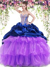 High Quality Royal Blue and Lavender Ball Gowns Sweetheart Sleeveless Organza and Taffeta With Brush Train Lace Up Beading and Ruffled Layers and Pick Ups Quinceanera Gowns