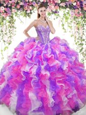 Modern Multi-color Ball Gowns Sweetheart Sleeveless Organza Floor Length Lace Up Beading and Ruffles Quinceanera Gowns
