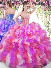 Sleeveless Floor Length Beading and Ruffles Lace Up Sweet 16 Dresses with Multi-color
