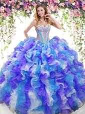 Amazing Organza Sweetheart Sleeveless Lace Up Beading and Ruffles Sweet 16 Quinceanera Dress in Multi-color