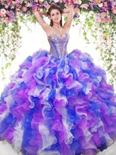 Glittering Multi-color 15 Quinceanera Dress Military Ball and Sweet 16 and Quinceanera and For with Beading and Ruffles Sweetheart Sleeveless Lace Up