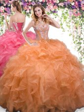 Luxury Orange Lace Up Sweet 16 Dresses Beading and Ruffles Sleeveless Floor Length