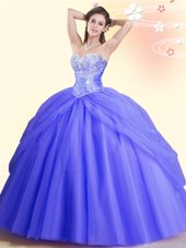Lavender Quinceanera Gown Military Ball and Sweet 16 and Quinceanera and For with Beading Sweetheart Sleeveless Lace Up
