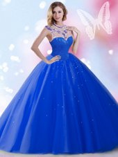 Wonderful Sleeveless Zipper Floor Length Beading and Sequins Ball Gown Prom Dress