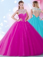 Attractive Scoop Fuchsia Zipper 15th Birthday Dress Beading and Sequins Sleeveless Floor Length