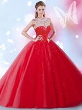 Nice Red Sleeveless Floor Length Beading and Sequins Zipper Quinceanera Dress
