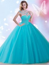 Sweet Sleeveless Zipper Floor Length Beading and Sequins Sweet 16 Quinceanera Dress