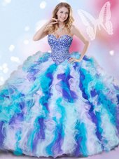 Stunning Multi-color Organza Lace Up Sweetheart Sleeveless Quinceanera Gown Beading and Ruffles