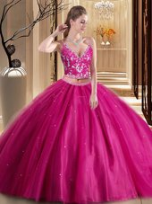 Trendy Spaghetti Straps Sleeveless Sweet 16 Dresses Floor Length Beading and Appliques Hot Pink Tulle