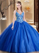 Beautiful Tulle Spaghetti Straps Sleeveless Lace Up Beading and Appliques Sweet 16 Quinceanera Dress in Blue