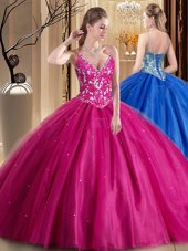 Sumptuous Spaghetti Straps Sleeveless Lace Up Quinceanera Gowns Hot Pink Tulle