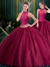 Deluxe Tulle Sleeveless Floor Length 15 Quinceanera Dress and Beading and Lace