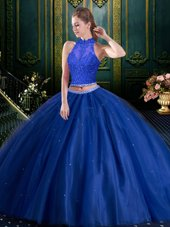 Admirable Two Pieces Sweet 16 Dress Navy Blue High-neck Tulle Sleeveless Floor Length Lace Up