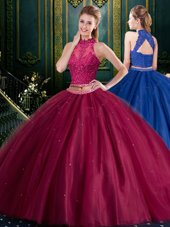Deluxe Halter Top Burgundy Sleeveless Floor Length Appliques Lace Up Quinceanera Gown