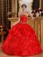 Red Ball Gown Strapless Floor-length Appliques Organza Quinceanera Dress