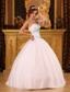 White Ball Gown Strapless Floor-length Satin and Organza BeadingQuinceanera Dress