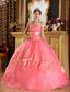 Watermelon Red Ball Gown Strapless Appliques Organza Quinceanera Dress