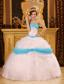 Perfect Ball Gown Strapless Floor-length Appliques Satin and Organza White Quinceanera Dress