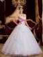 White A-line / Princess Sweetheart Floor-length Appliques Tulle Quinceanera Dress