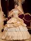 Beautiful Ball Gown Strapless Floor-length Taffeta Appliques Champagne Quinceanera Dress