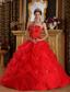 Red Ball Gown Strapless Floor-length Pick-ups Tulle Quinceanera Dress