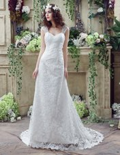 Great Sleeveless Lace and Appliques Lace Up Wedding Gown with White Brush Train
