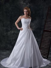Decent White Wedding Gowns Wedding Party and For with Ruching Sweetheart Sleeveless Brush Train Lace Up