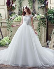 Cheap White Wedding Dress Wedding Party and For with Beading and Lace Scalloped Sleeveless Court Train Zipper