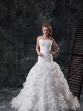 Stunning Fabric with Rolling Flowers Ruffles and Ruching Bridal Gown White Lace Up Sleeveless Brush Train
