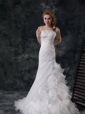 Charming White Bridal Gown Strapless Sleeveless Brush Train Lace Up
