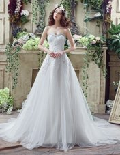 Chic White A-line Tulle and Lace Sweetheart Sleeveless Beading and Lace and Appliques Lace Up Bridal Gown Court Train