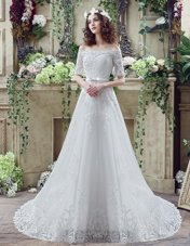 Dynamic Off the Shoulder Lace Up Wedding Gown White and In for Wedding Party with Lace and Appliques and Bowknot Court Train