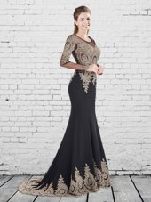 Excellent Scoop Black Mermaid Appliques Prom Gown Lace Up Elastic Woven Satin Long Sleeves With Train