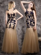 Champagne Mermaid Scoop Sleeveless Tulle Floor Length Side Zipper Lace and Appliques Prom Dress