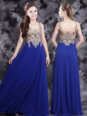 Suitable Scoop Royal Blue Sleeveless Chiffon Side Zipper Prom Dress for Prom