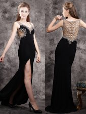 Amazing Black V-neck Neckline Appliques Evening Outfits Sleeveless Zipper