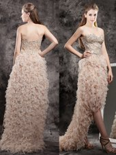 High Low Empire Sleeveless Champagne Pageant Dresses Zipper