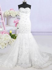 Trendy Mermaid Tulle Sleeveless With Train Wedding Gowns Brush Train and Beading and Lace and Appliques
