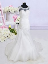 Nice Scoop See Through White Sleeveless With Train Beading and Appliques Backless Wedding Dress