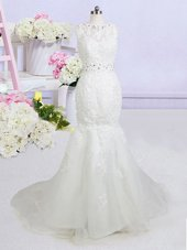 Admirable White Mermaid Beading and Appliques Bridal Gown Backless Organza Sleeveless With Train