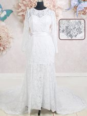 Decent Scoop Lace Beading and Belt Wedding Gowns White Zipper Long Sleeves With Brush Train