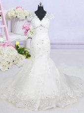 Latest Mermaid White Tulle Lace Up V-neck Cap Sleeves With Train Wedding Gown Brush Train Beading and Lace