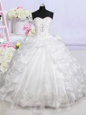 Luxurious White Ball Gowns Sweetheart Sleeveless Organza With Brush Train Lace Up Beading and Appliques and Pick Ups Wedding Gown