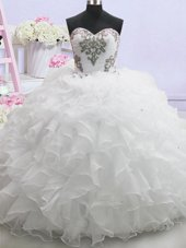Dynamic Sweetheart Sleeveless Wedding Dresses With Brush Train Beading and Ruffled Layers White Organza