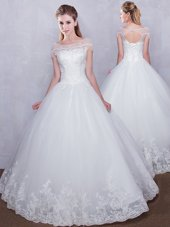 Beautiful Scoop Cap Sleeves Lace Up Floor Length Lace Wedding Gown