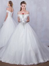 Perfect Scalloped White Sleeveless Tulle Court Train Lace Up Wedding Gowns for Wedding Party