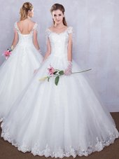 Charming Short Sleeves Tulle Floor Length Lace Up Bridal Gown in White for with Lace